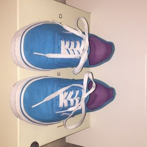 Vans Off the Wall teal blue and purple sneakers